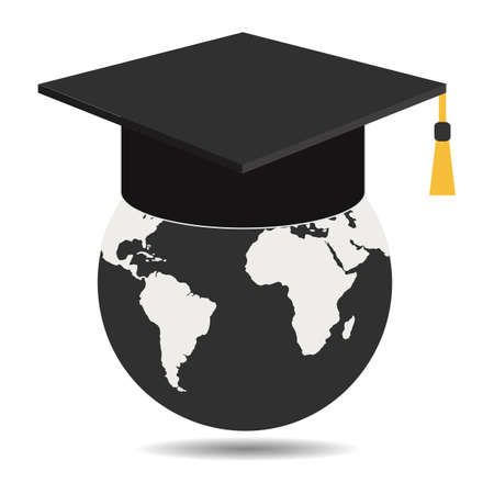 illustration of student hat with earth globe and shadow on white background