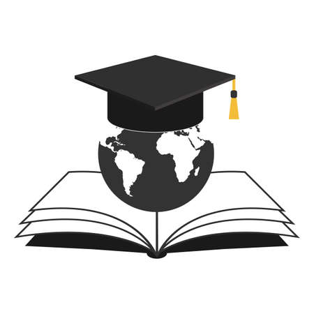 Globe illustration with graduation cap and book icon design.