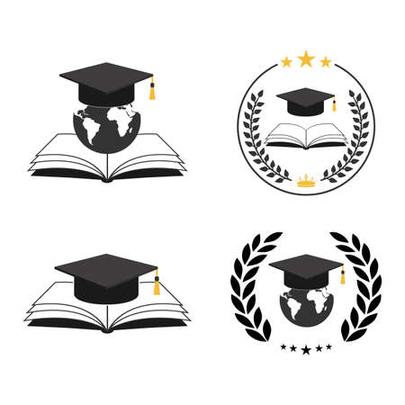 Illustration set education concept.Earth globe and cap of student with book on white background.