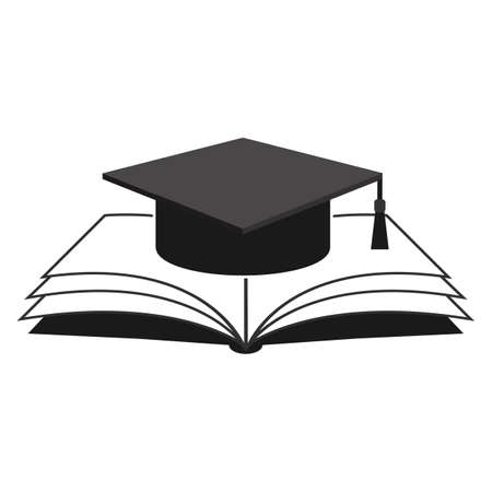 Illustration of student cap and book on a white background. Ilustração