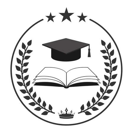 Illustration World education logo design. Globe with graduation cap and book on white background.