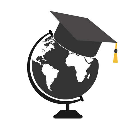 illustration of student hat with globe on white background Ilustração