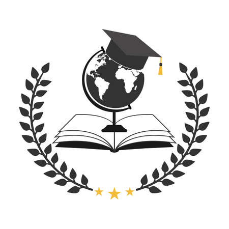 illustration of student hat with globe and book on white background
