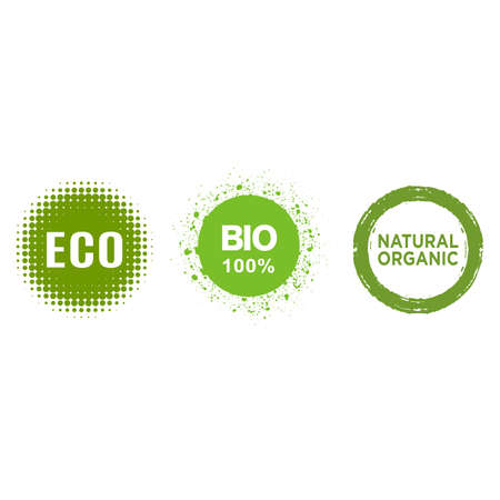 set of eco, bio, vegan product, organic food, 100% natural labels for organic and natural product