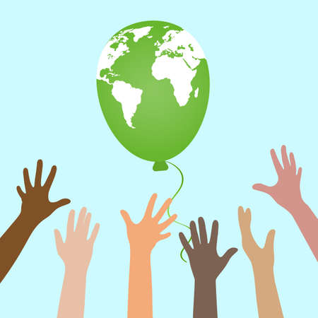 illustration of environmental protection.Hands of people raised to the sky on a blue background