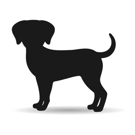 illustration of a silhouette of a black dog on a white background