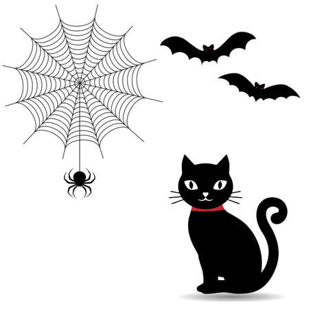 illustration of a black cat with cobwebs and bats on a white background Ilustração
