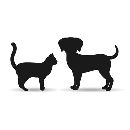 illustration of silhouettes of black dog and cat on a white background