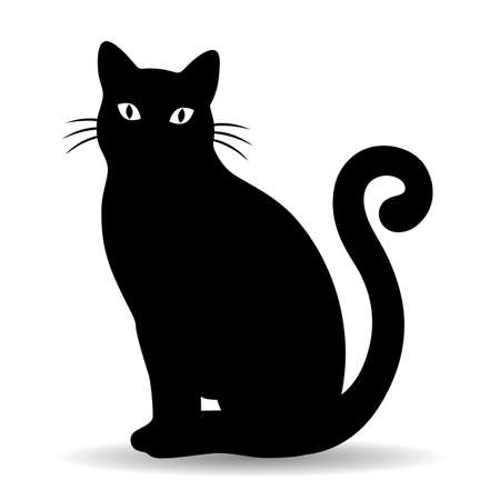 illustration of a black cat on a white background