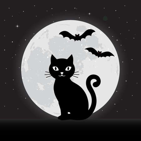 Happy halloween illustration. Black cat on the background of the night sky with stars with the moon and bats Ilustracja