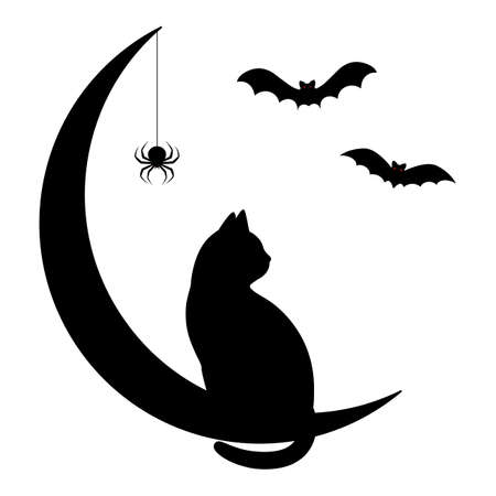 Happy halloween illustration. Black cat sitting on a crescent moon with spider and bats Ilustracja