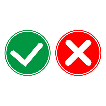 Illustration of Tick and cross icons. Yes and No symbols on white background