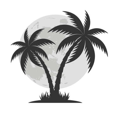 illustration silhouette of palm tree on moon background.