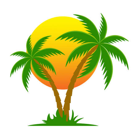 illustration silhouette of palm tree on sun background.