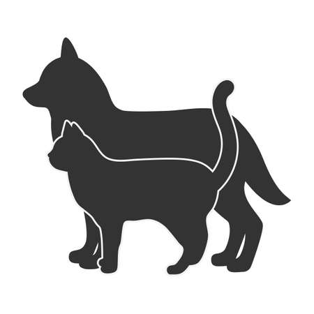 illustration silhouette of a dog and a cat on a white background