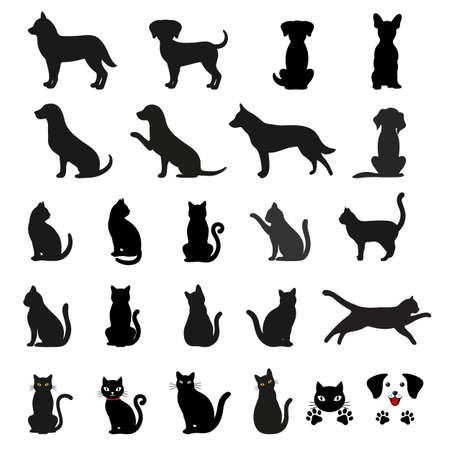 illustration set of silhouettes of dog and cat Ilustracja