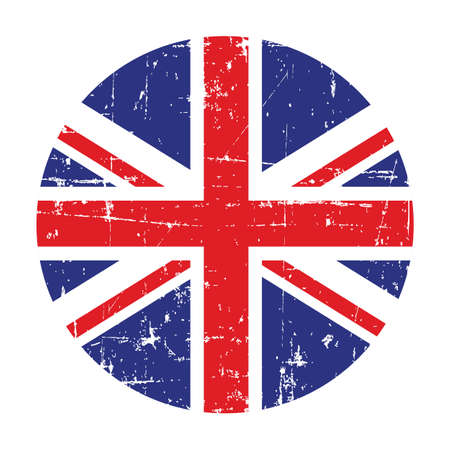 Illustration of a badge with flag of United Kingdom of Great Britain and Northern Ireland on a white background