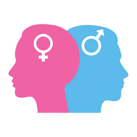 illustration Gender equality concept. Silhouettes of a man and a woman. The gender sign.