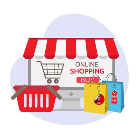 illustration Online shopping.Mobile and digital marketing