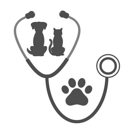 Veterinary clinic logo with dog and cat on the background of a stethoscope Ilustracja