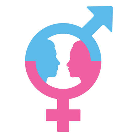 illustration of male and female gender symbols with human faces Ilustracja