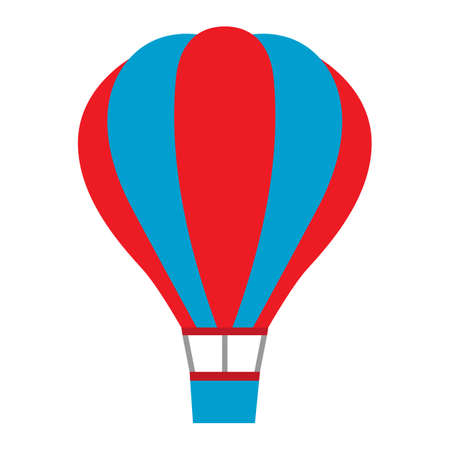 illustration of a multicolored hot air balloon on a white background Ilustracja