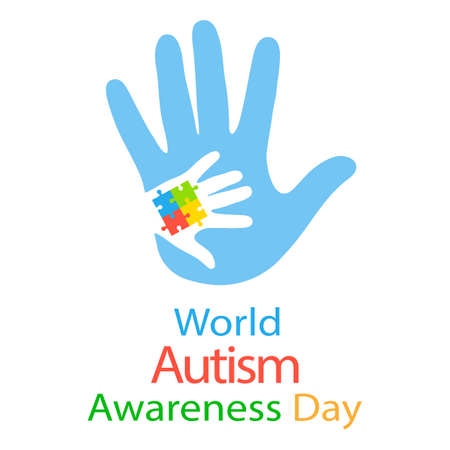 Autism concept with childish hand of puzzle pieces as a symbol of autism.