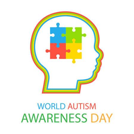 illustration of World Awareness Autism Day on white background