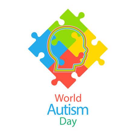 Autism Awareness Day. Multicolored puzzle profile of a boy on a white background Illusztráció