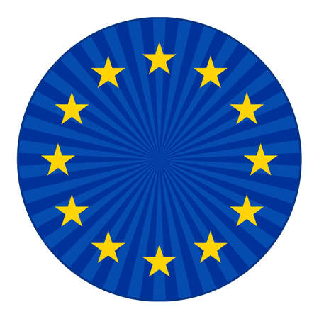 europe flag with stars in blue circle Ilustracja