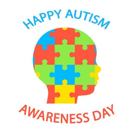 illustration of world autism day on white background