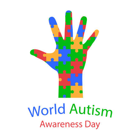 illustration of world autism day. hand with puzzles on white background