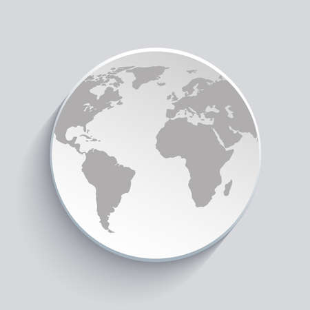 illustration of globe with world map and shadow on gray background