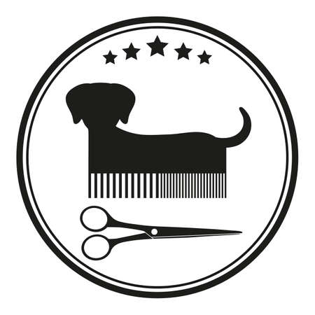 animal haircut emblem illustration. dog with comb and scissors in a circle