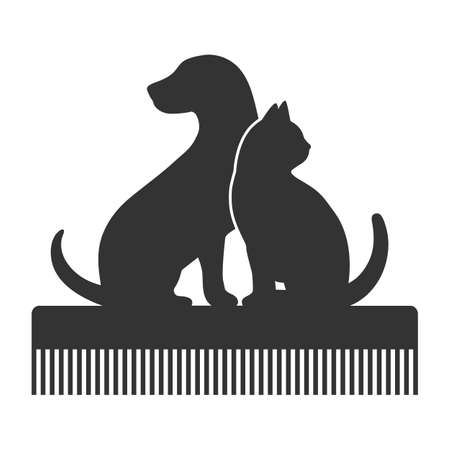 Pet Grooming. Silhouette of a dog and a cat on a comb. Animal haircut, combing pets. Illusztráció