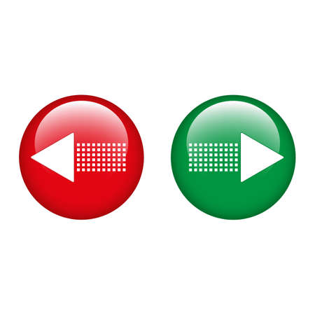 Red and green opposite arrows in a circle. Confrontation symbol.