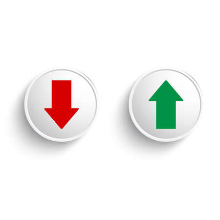 green and red up and down arrows in a button