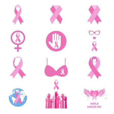 Illustration Set Of Breast Cancer Awareness Labels On White Background Illusztráció
