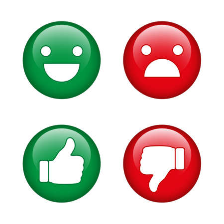 Finger pointer and smileys on a white background