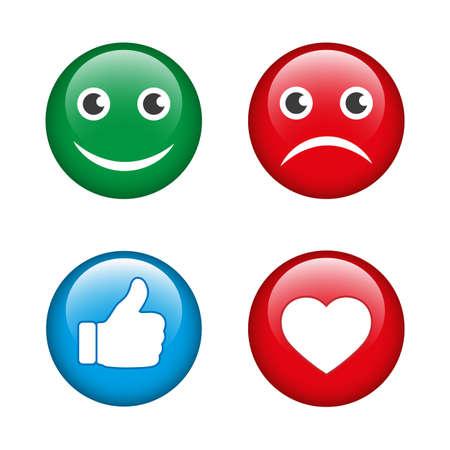 Abstract flat style design emoji emotion set.