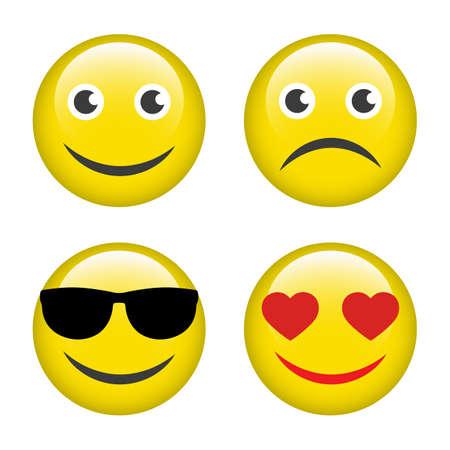 illustration set of emoji emotions on white background