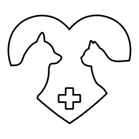 veterinary logo illustration. dog and cat with medical cross on heart background