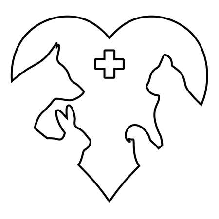 veterinary logo. dog, cat, parrot and rabbit with medical cross on heart background