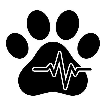 veterinary clinic logo animal paw with pulse on white background Illusztráció