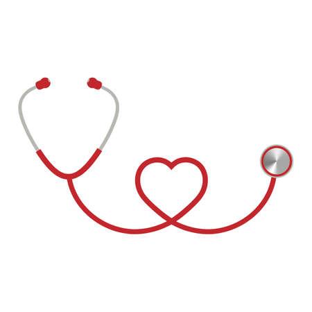 heart shaped red stethoscope illustration Illusztráció