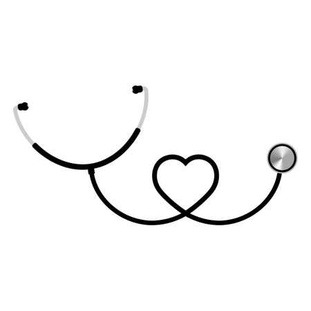 heart shaped black stethoscope illustration