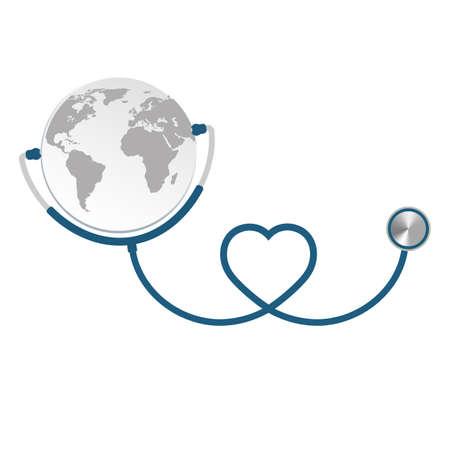 heart shaped blue stethoscope with earth globe