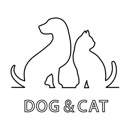 Illustration   pet shop, veterinary clinic. Dog and cat on a white background.