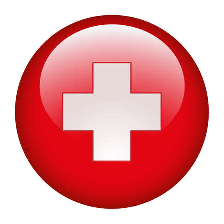 Medical cross symbol in a red circle illustration on white background