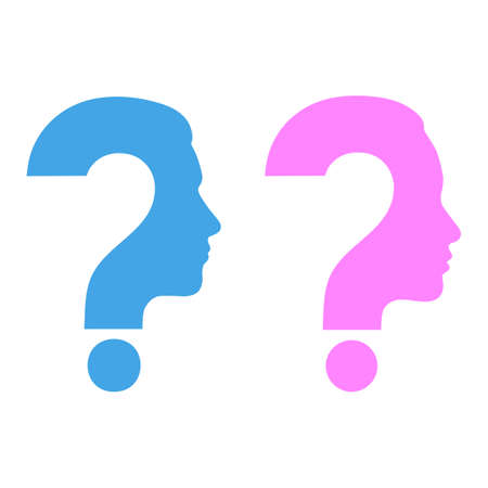 Silhouettes of man and woman heads with question mark Illusztráció